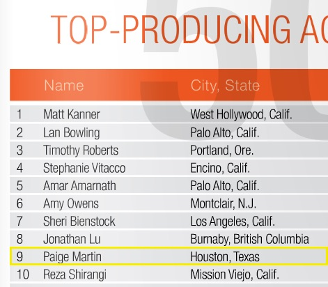 Paige Martin Listed As One Of Keller Williams Top 10 Agents