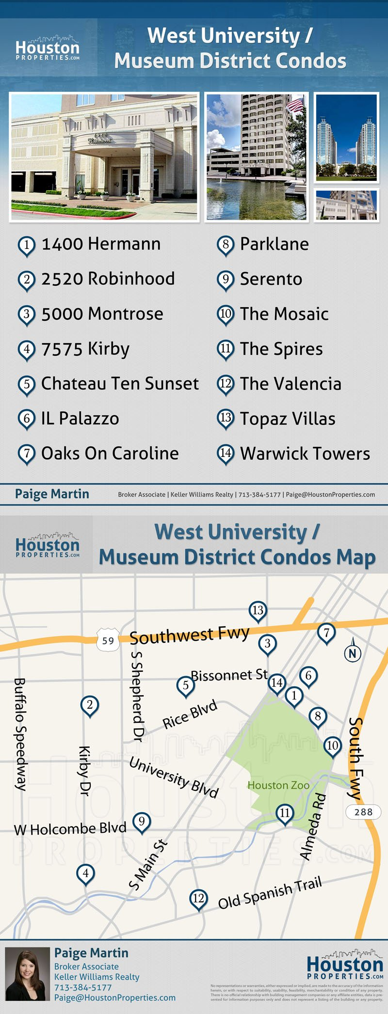 Museum District Houston Condos Map
