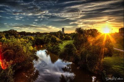 Sunrise over Houston's Buffalo Bayou