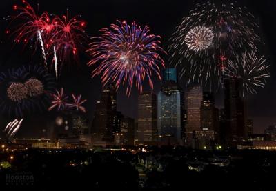 Fireworks over Memorial Park