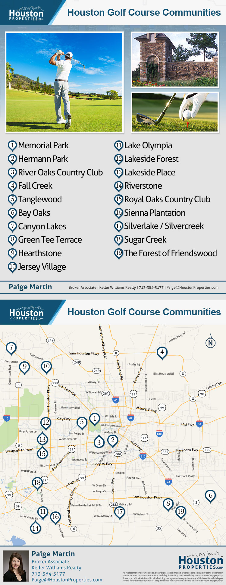 houston golf course communities map