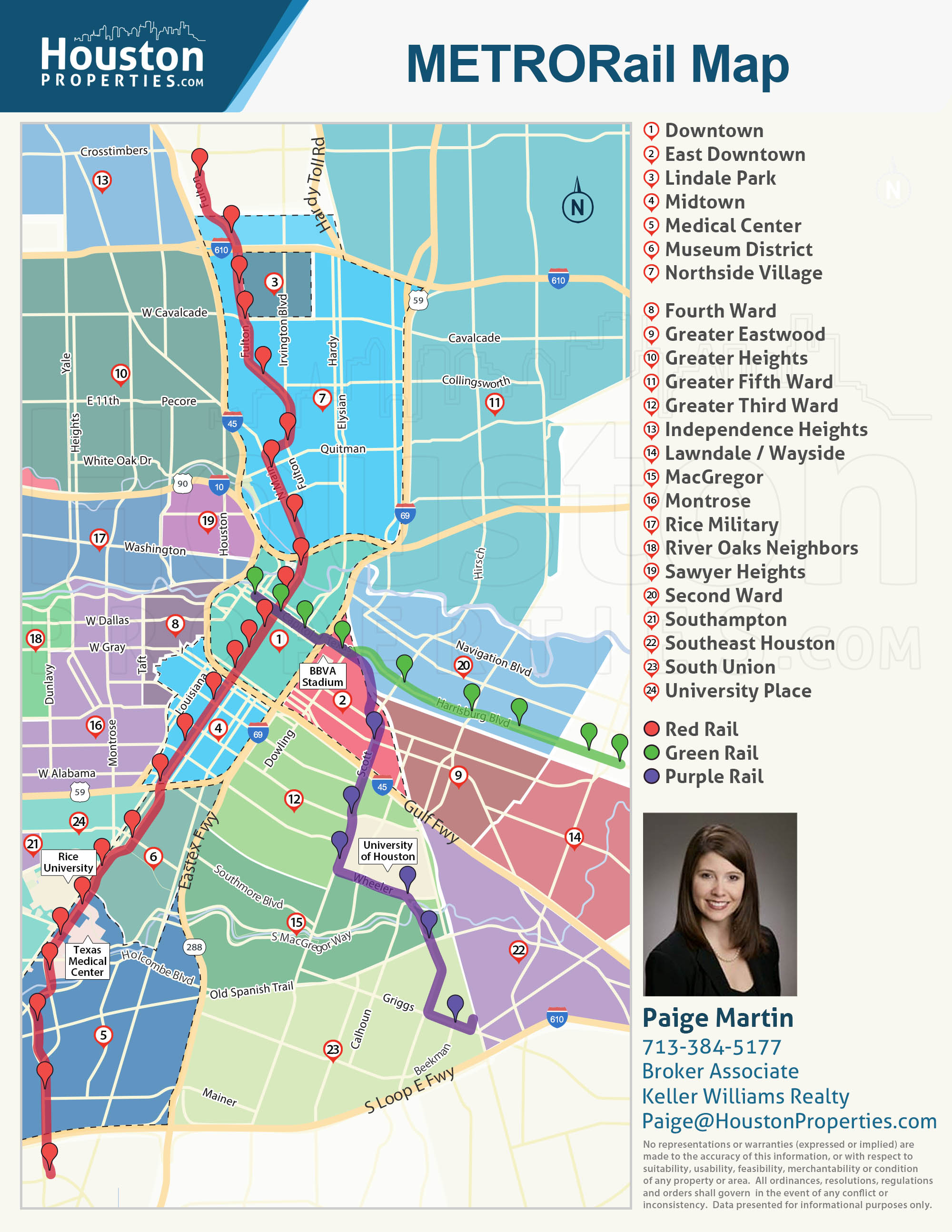 Houston METRO Rail Map Neighborhoods Near METRORail