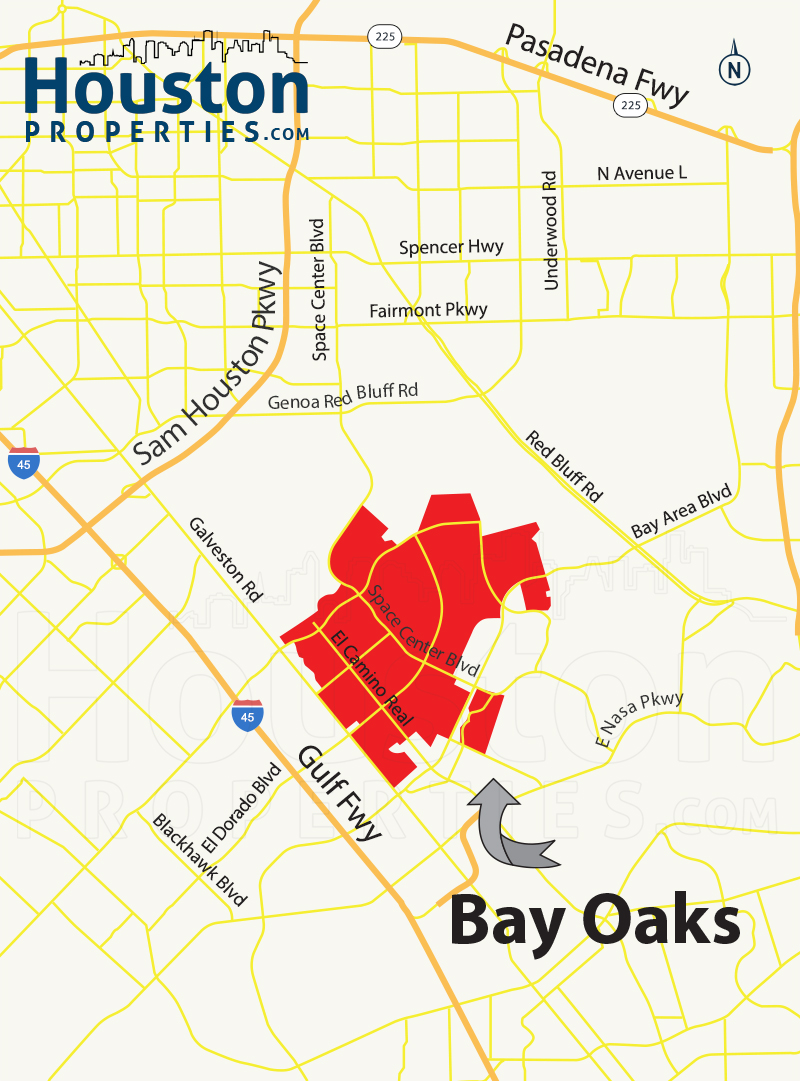 Bay Oaks houston map