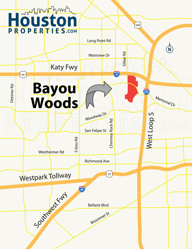 Bayou Woods houston map