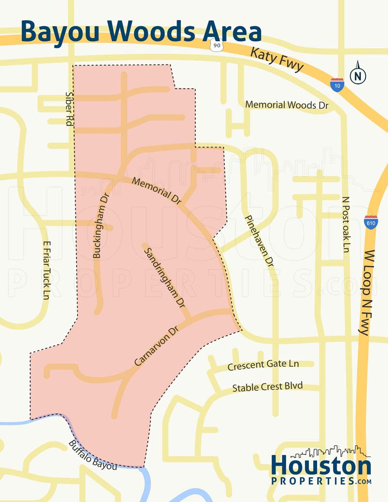 Bayou Woods neighborhood map