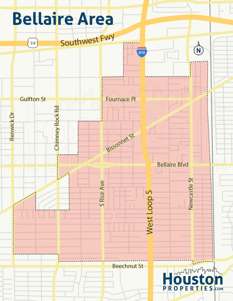map of bellaire homes in houston