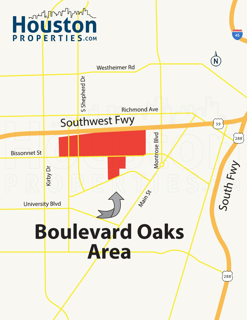 Boulevard Oaks Houston Map