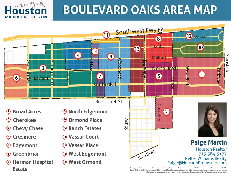 map of boulevard oaks homes in houston