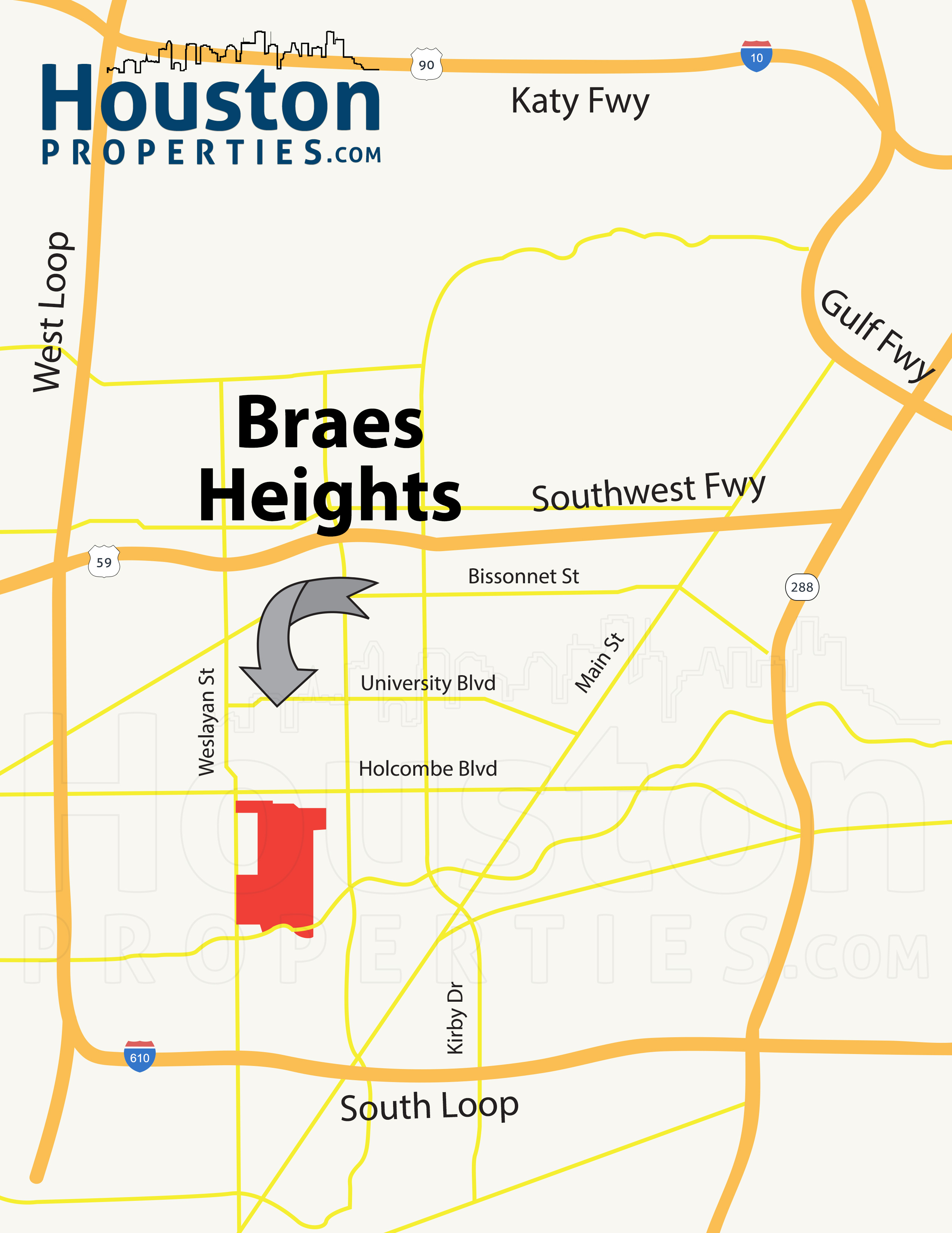 Braes Heights Houston Map