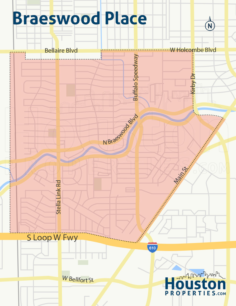 Braeswood Place Houston Neighborhood Map