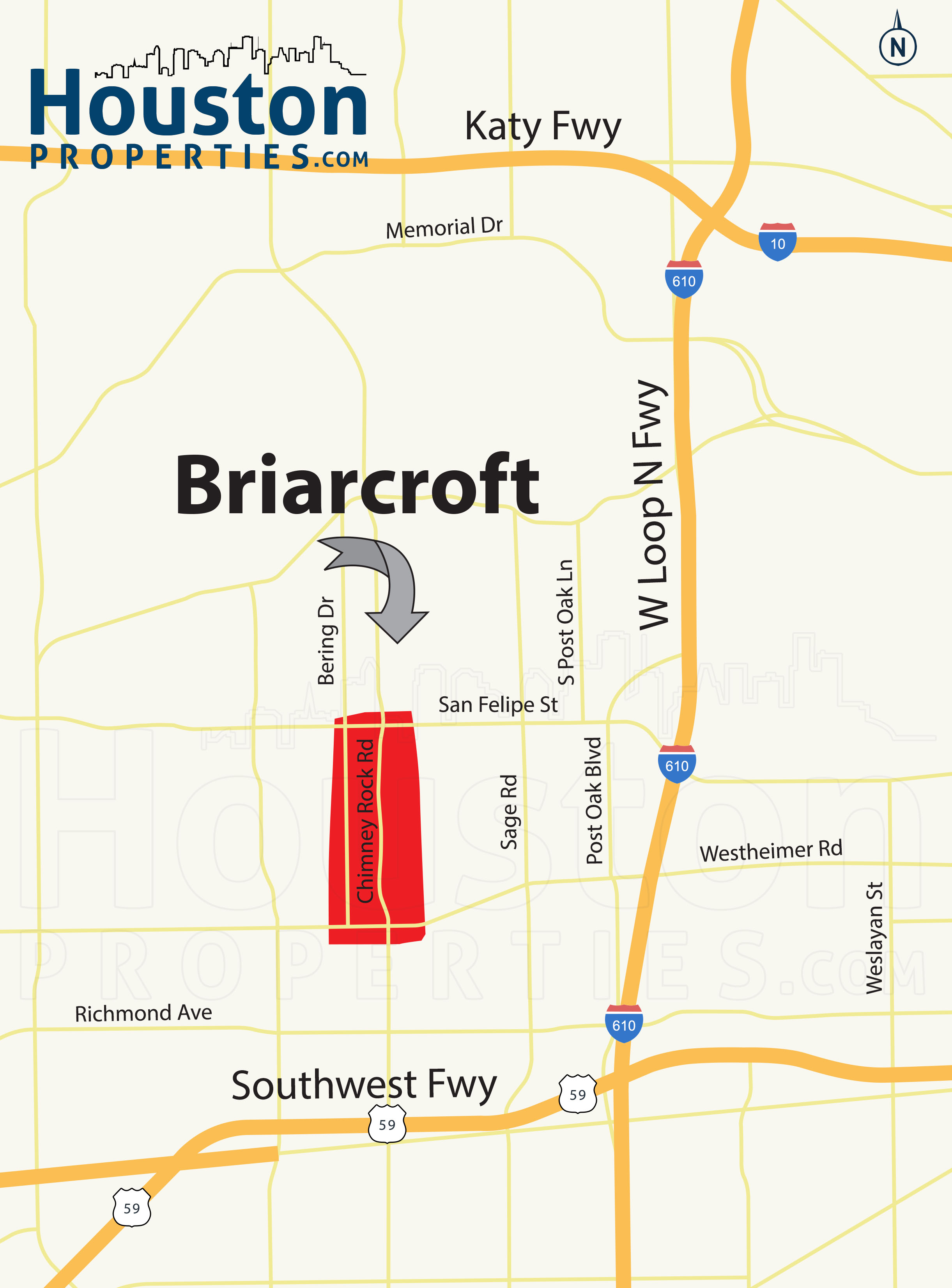 Briarcroft Houston map