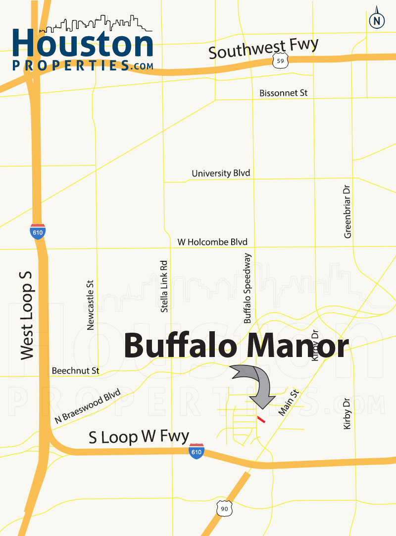 Buffalo Manor Houston map