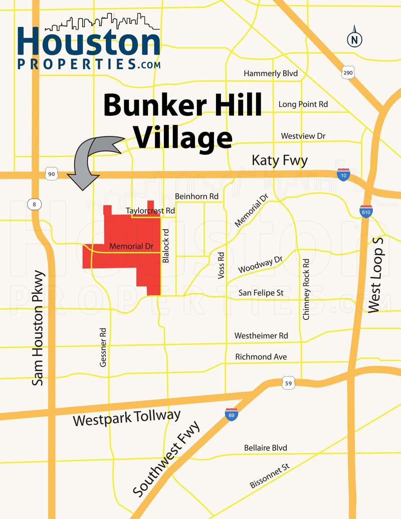Bunker Hill Village TX map