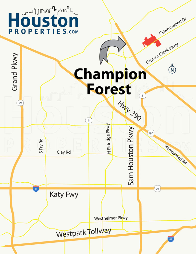 Champion Forest TX map