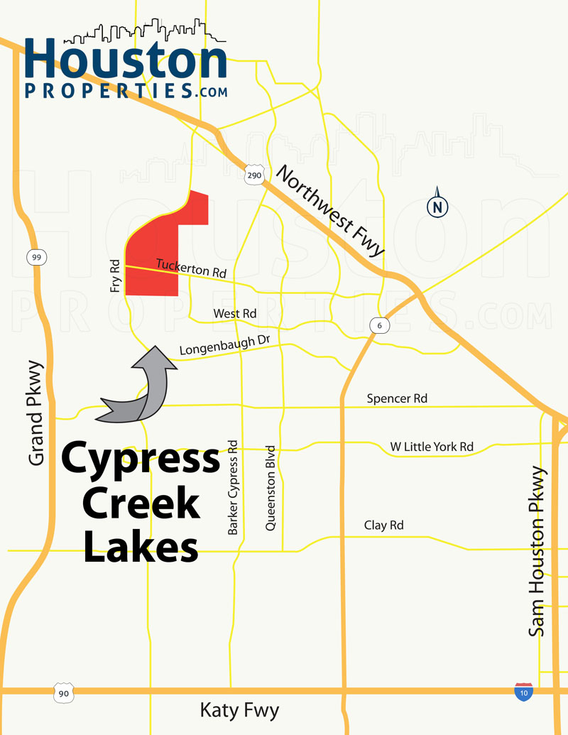 Cypress Creek Lakes houston map