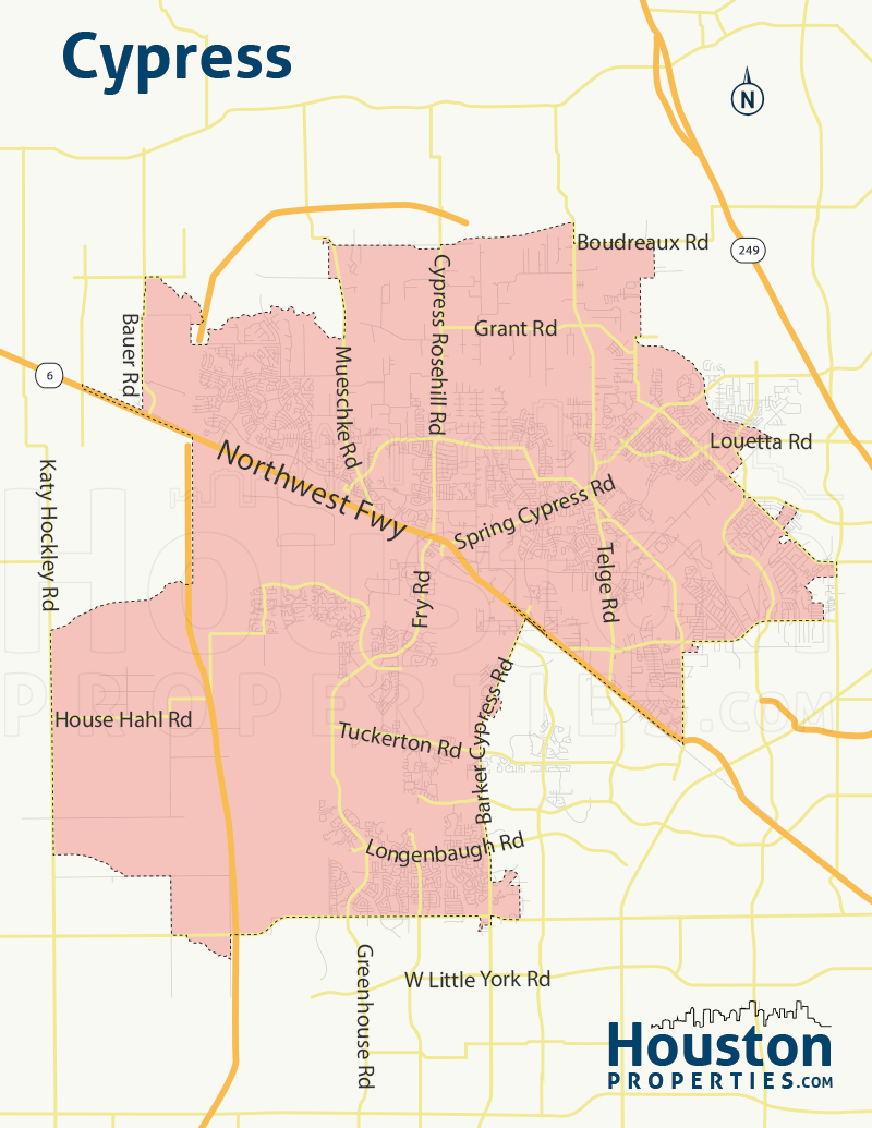 Cypress TX neighborhood map