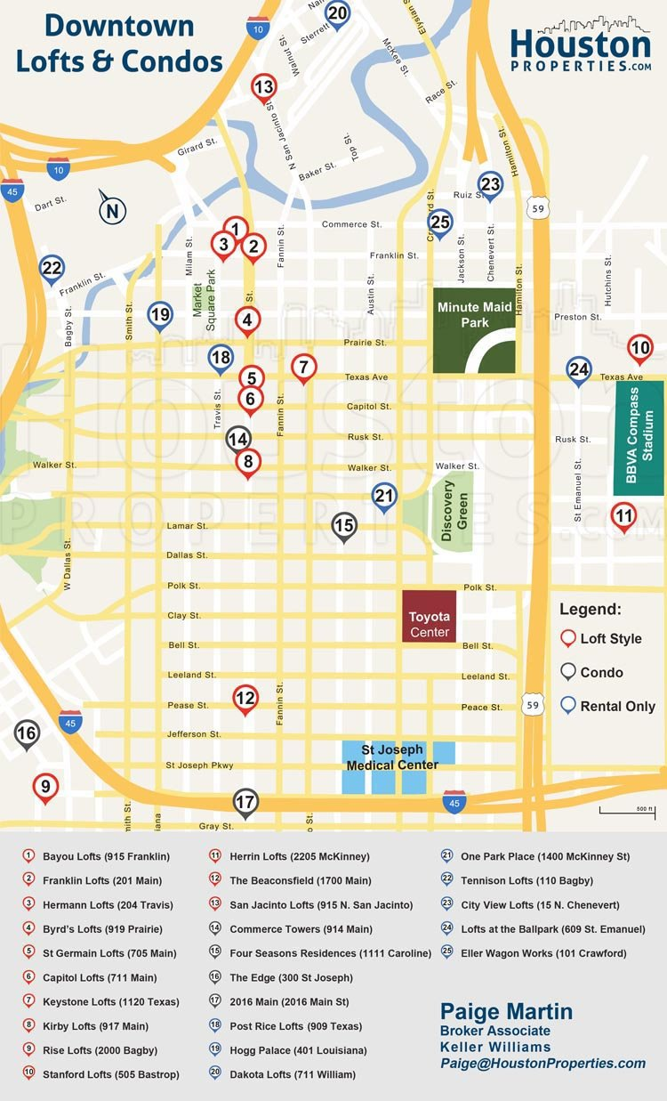 Downtown Houston condos and lofts map