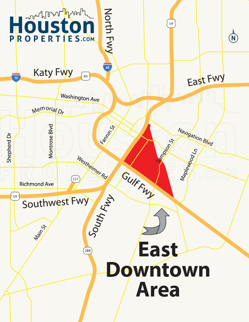 East Downtown Houston map