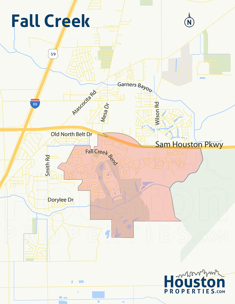 Fall Creek Houston Map