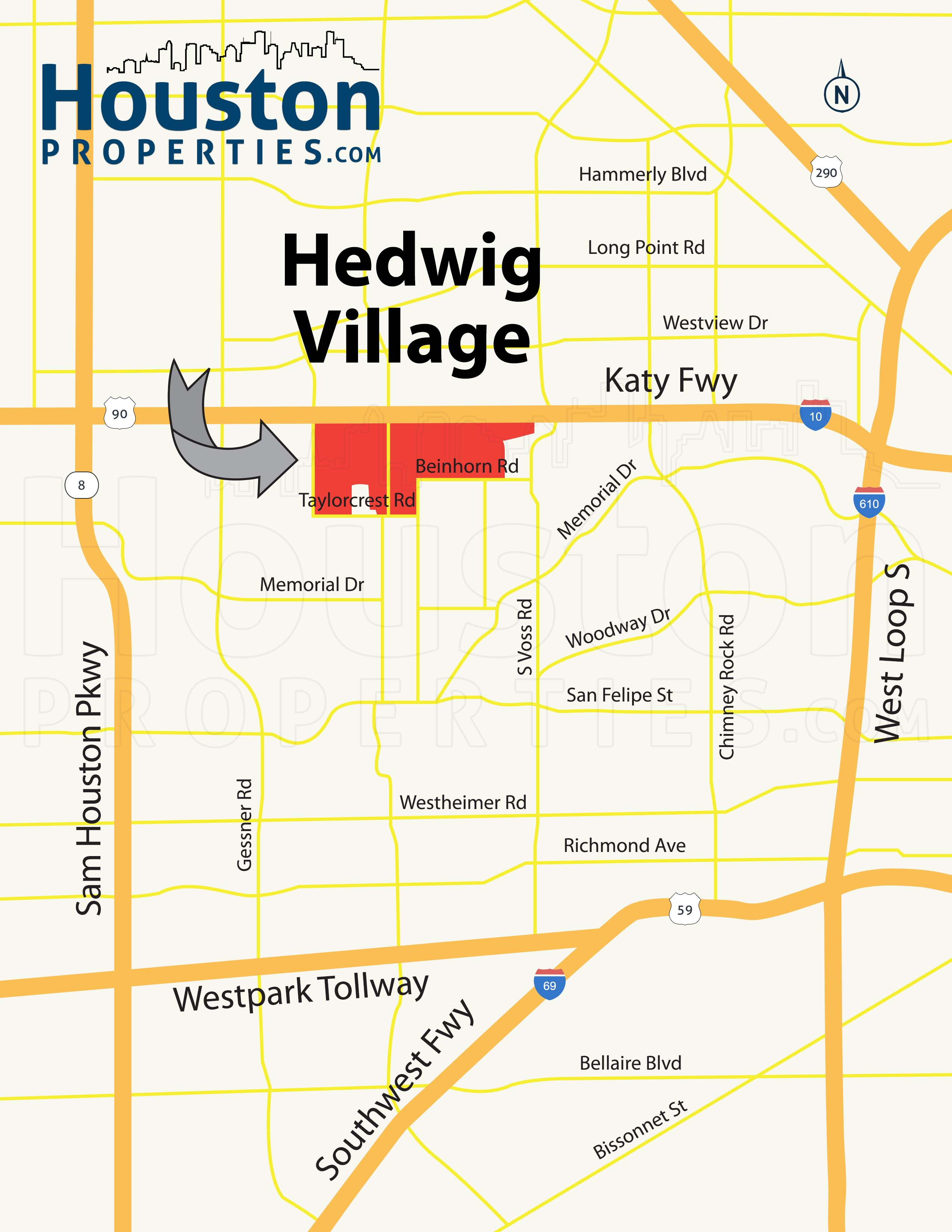 Hedwig Village Houston map