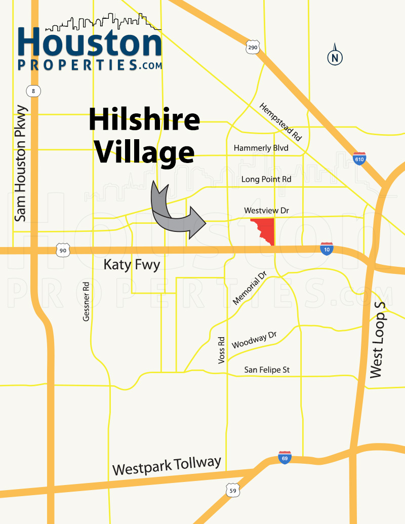 Hilshire Village Houston map