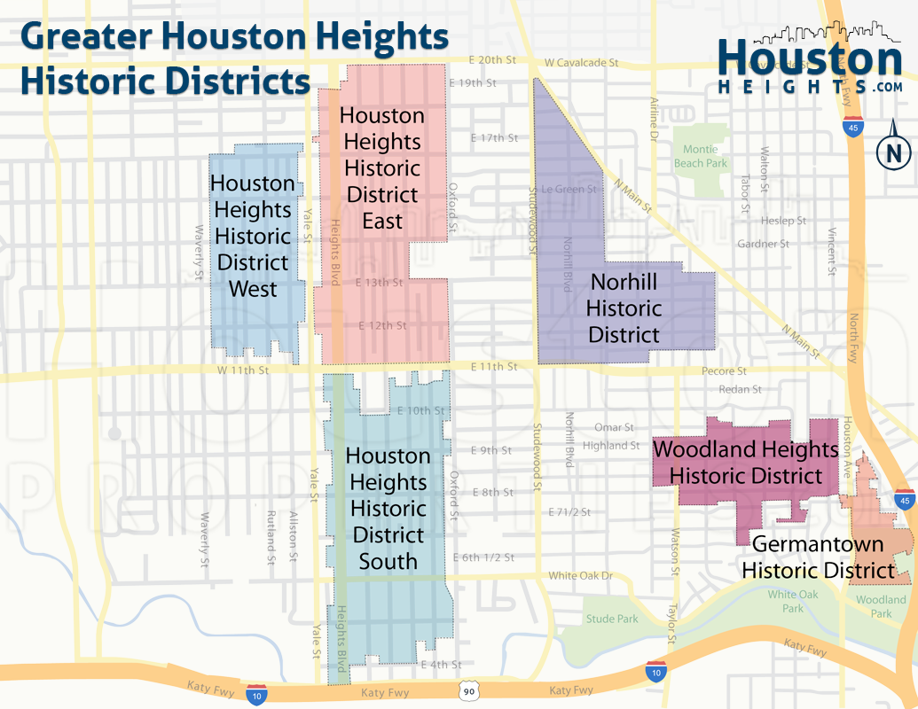 Historic Heights Location Within Houston Heights (Map)
