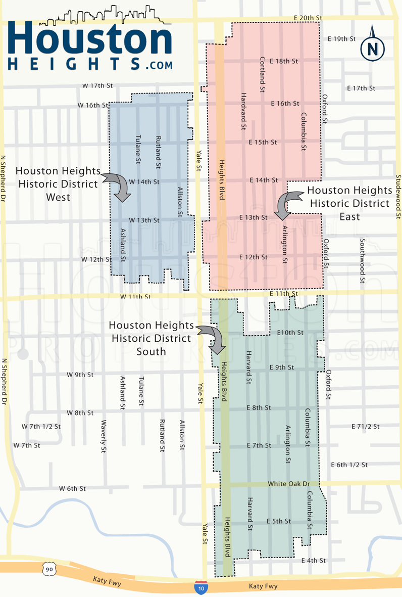 Houston Heights Historic Districts Map