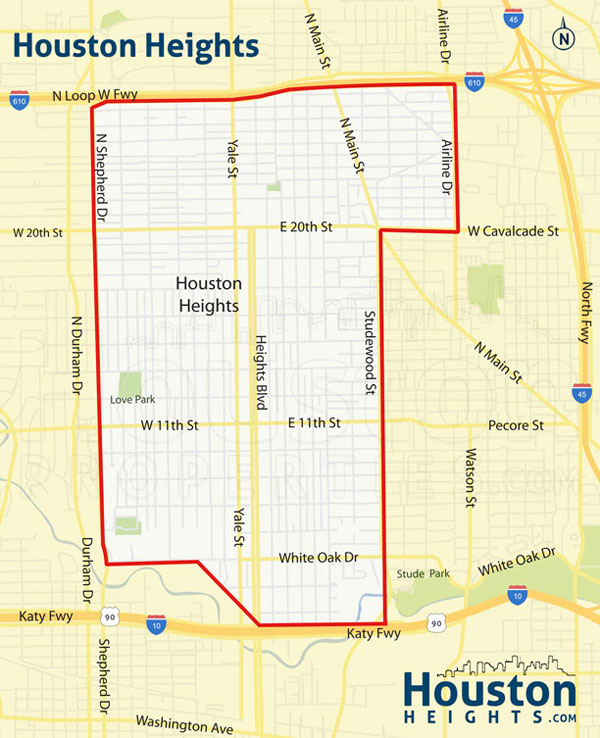 map of the houston heights
