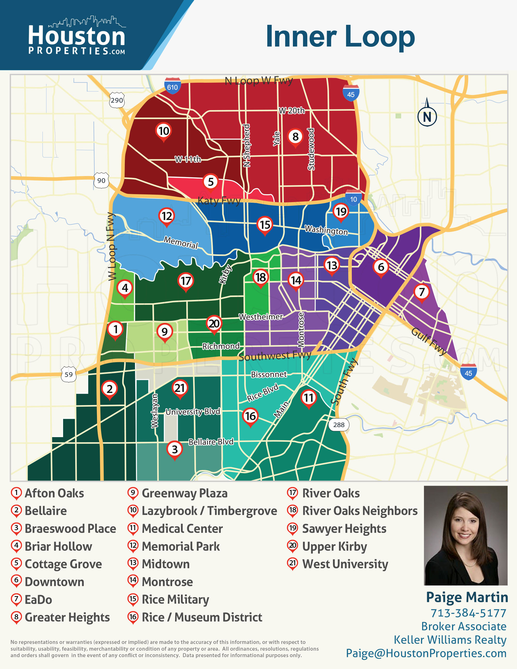 Map Of Houston Neighborhoods 2019 Update: 14 Best Inner Loop Houston Neighborhoods | Real  Map Of Houston Neighborhoods