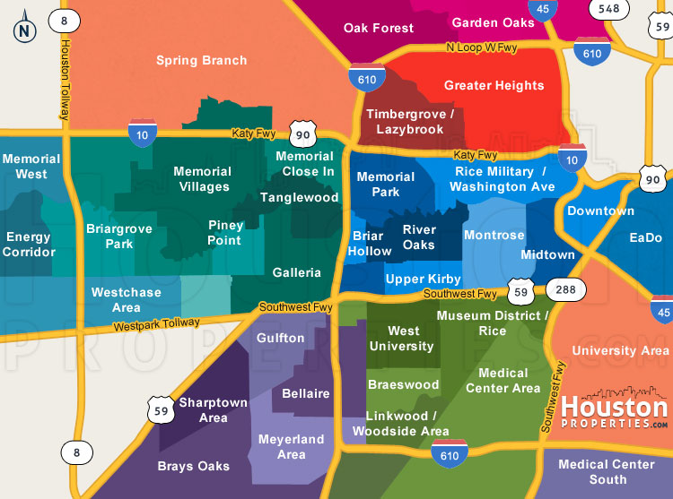 houston inner neighborhood map