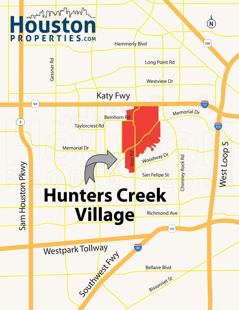 Hunters Creek Village TX map