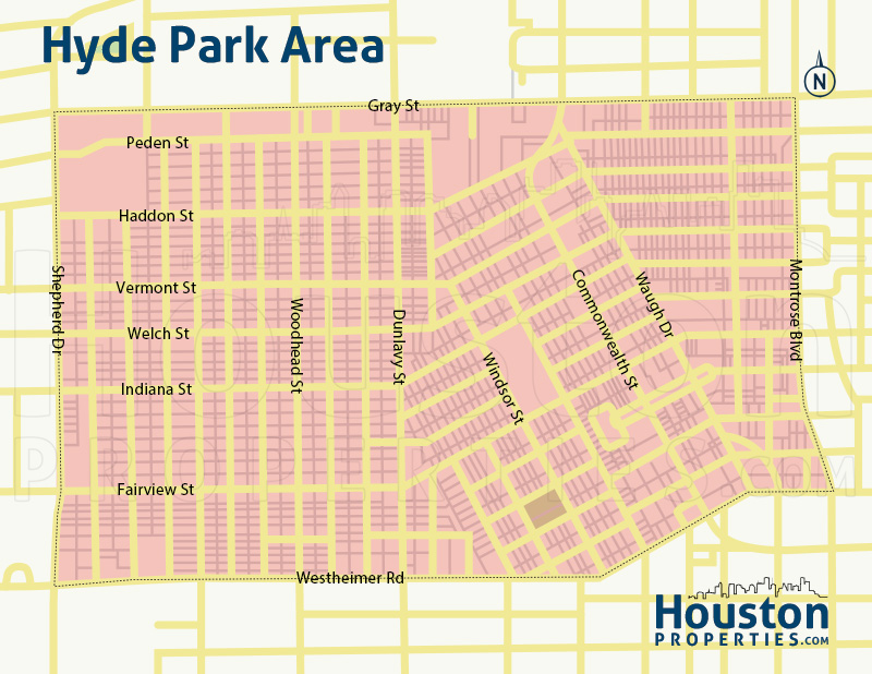 Hyde Park Houston Neighborhood Map