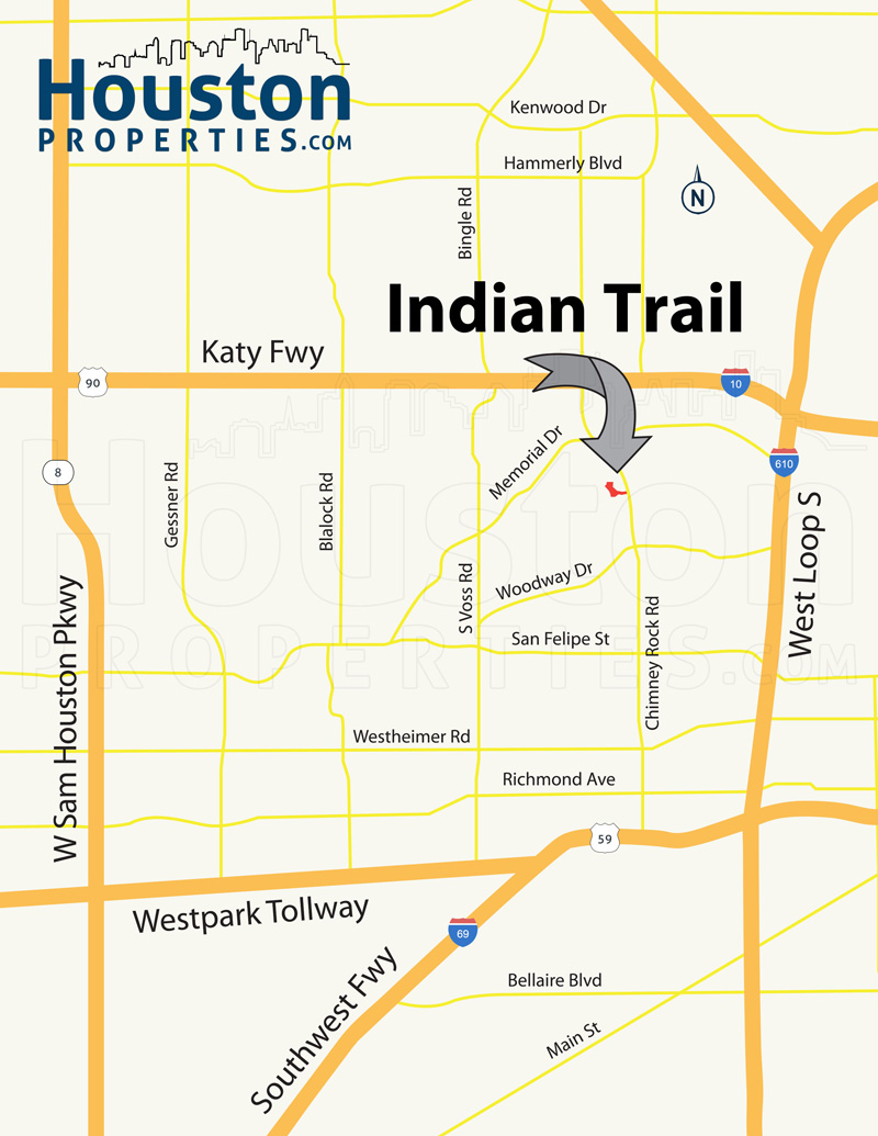indian trail houston map