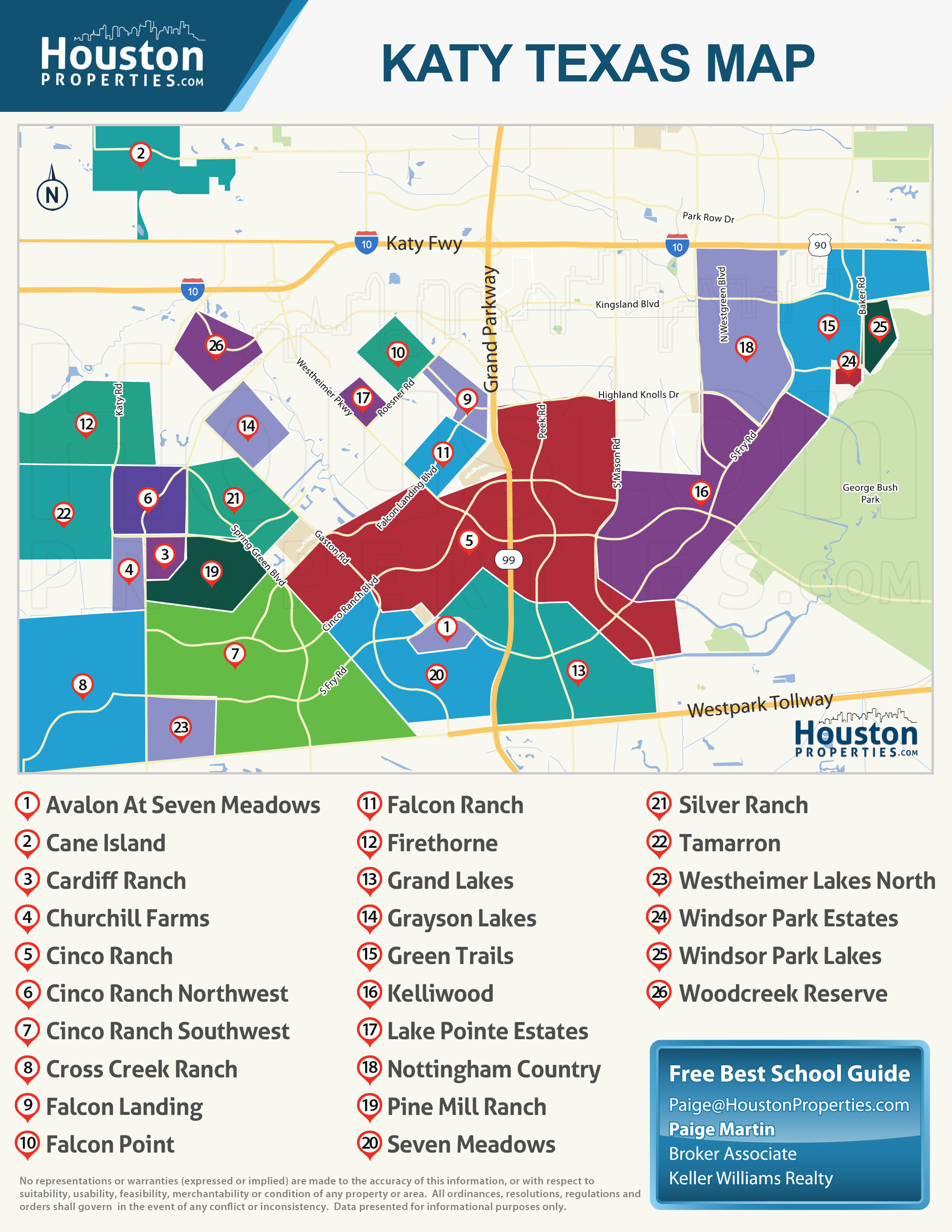 Katy TX Subdivisions Map