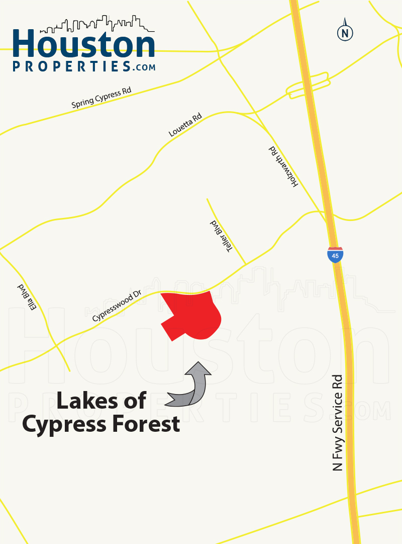 Lakes of Cypress Forest houston map