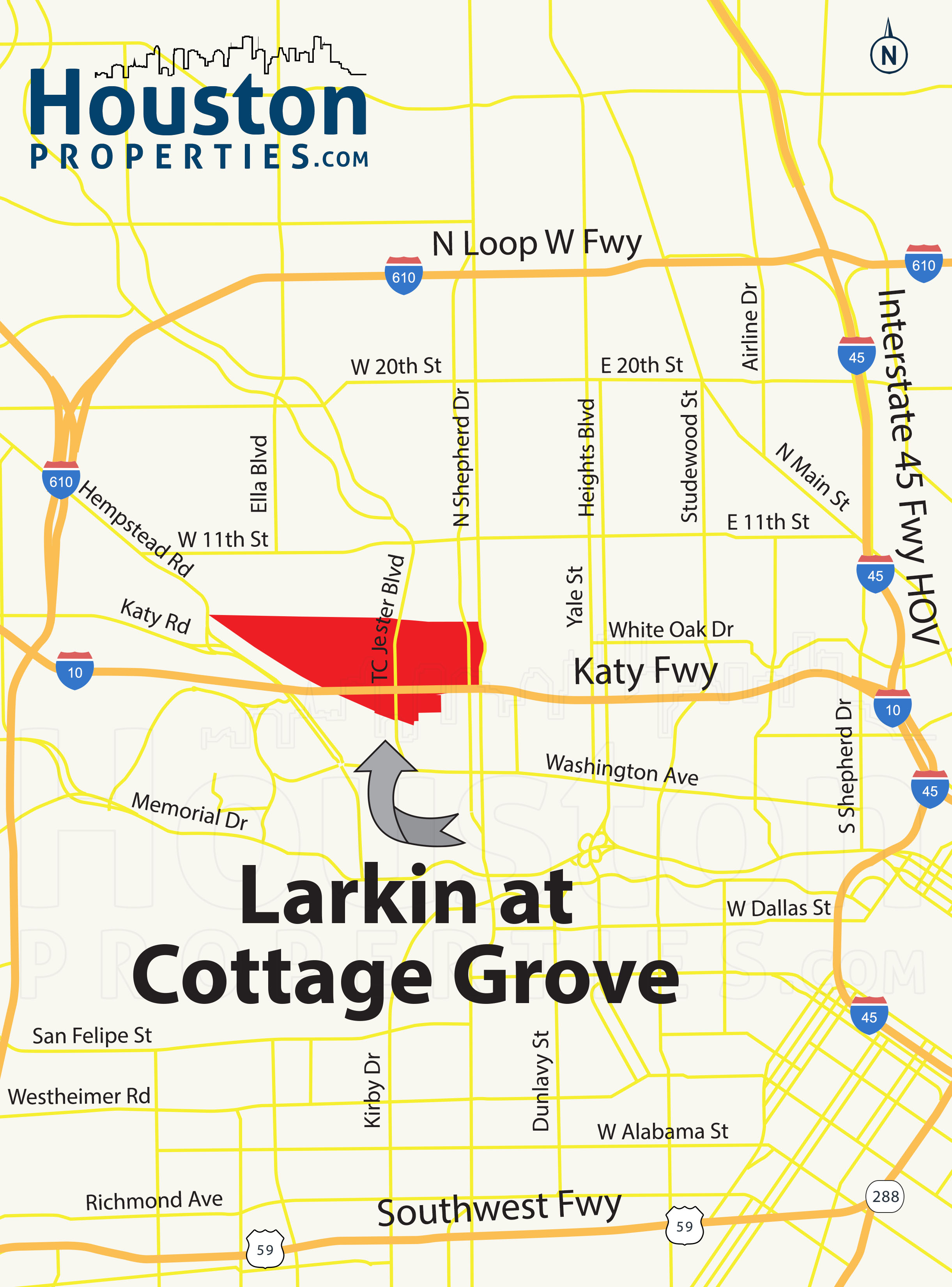 Larkin At Cottage Grove Houston map