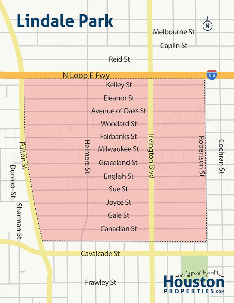 Lindale Park Houston Neighborhood Map