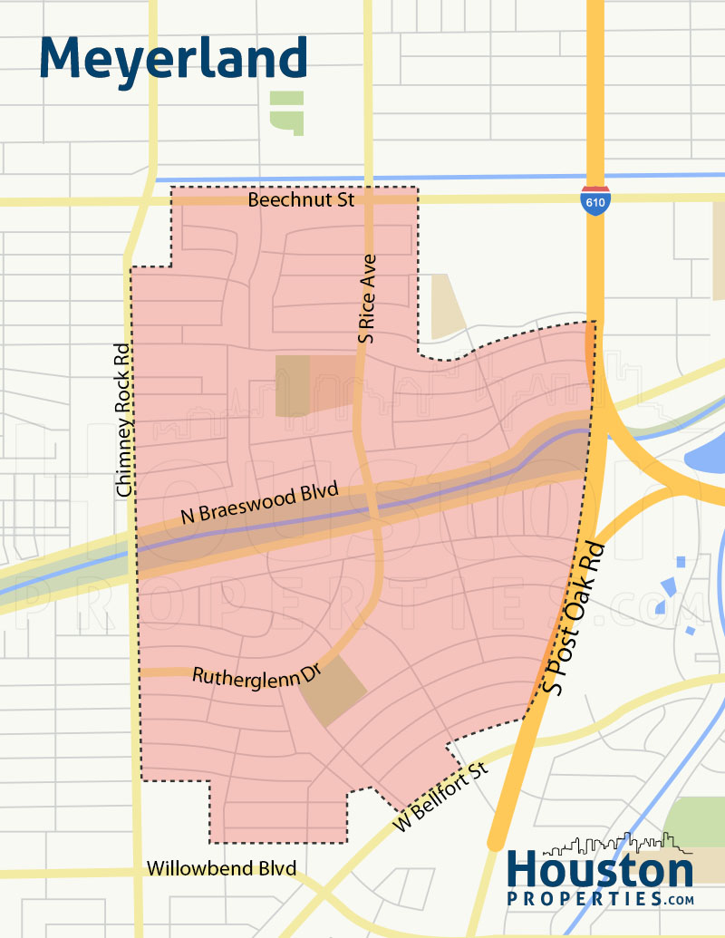 Meyerland Houston Neighborhood Map