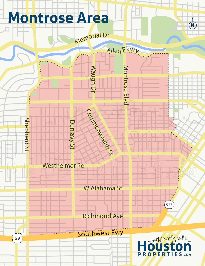 map of montrose homes in houston