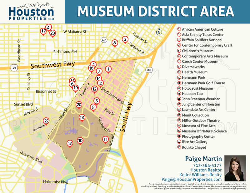 map of museum district in houston