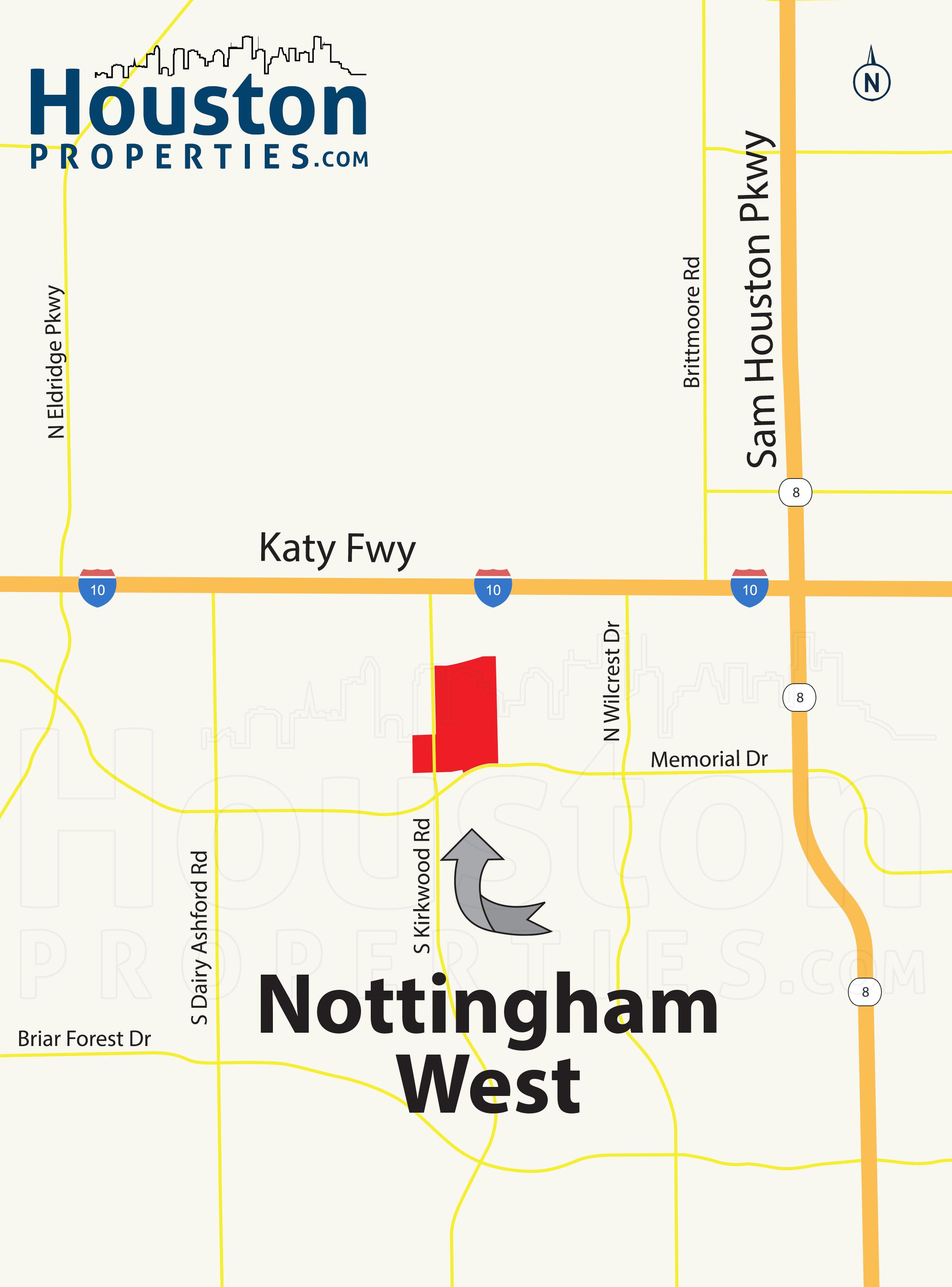 Nottingham West Houston map