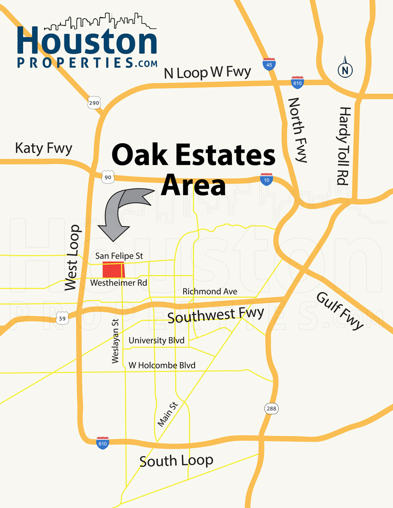 oak estates houston map