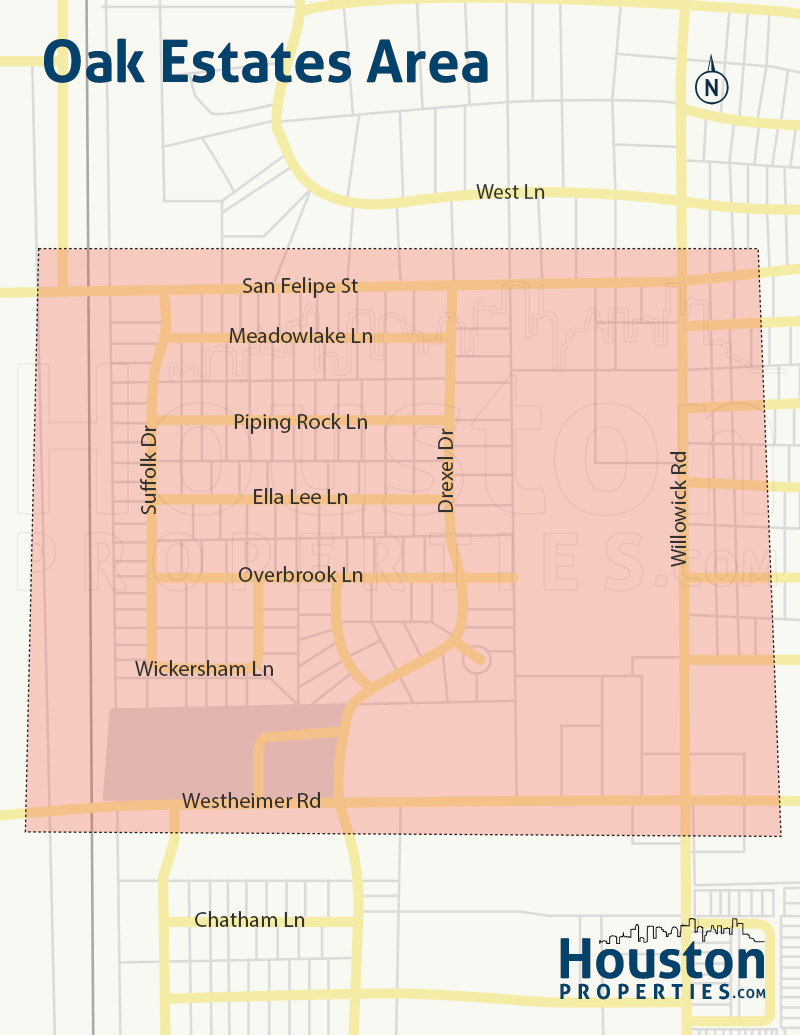 map of oak estates homes in houston