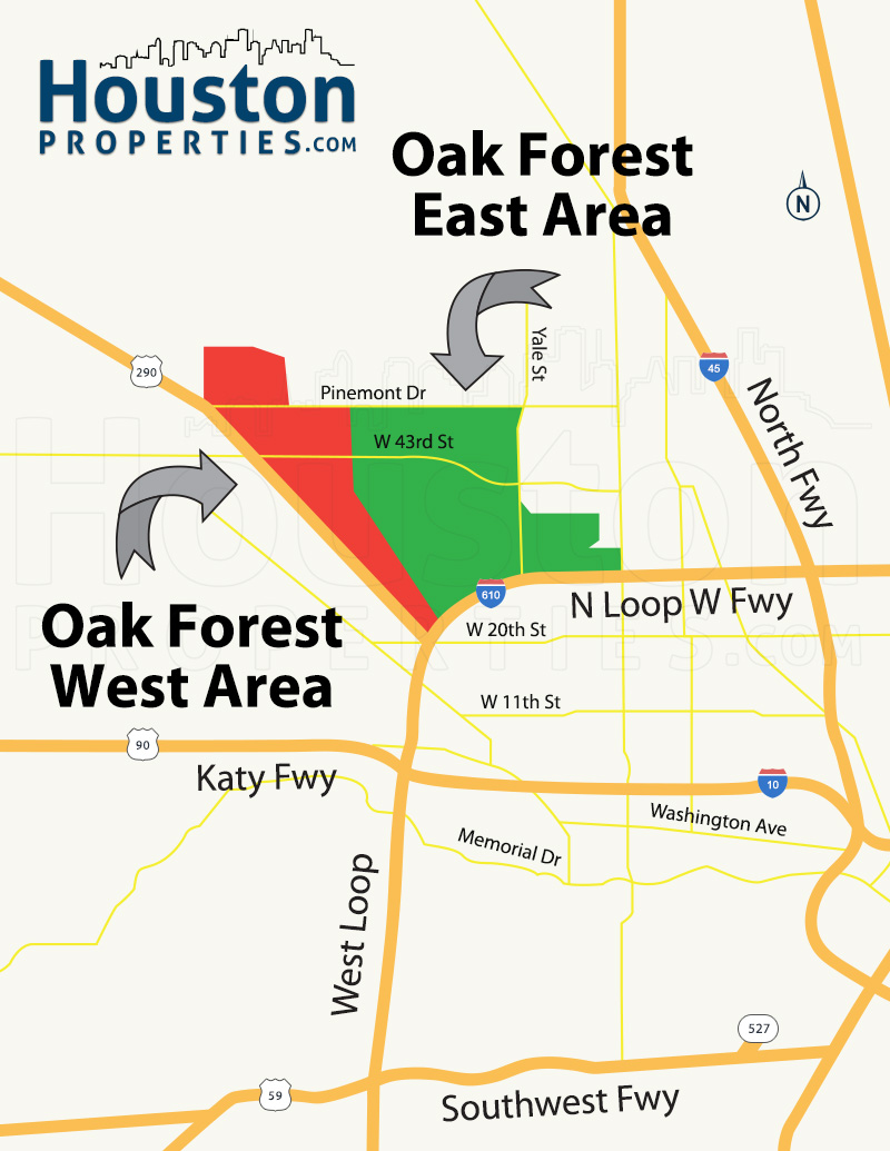 Houston Location: Oak Forest Neighborhood Map