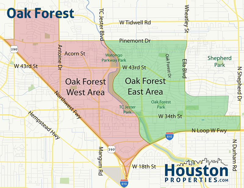 Inner Neighborhood Map Of Oak Forest Homes