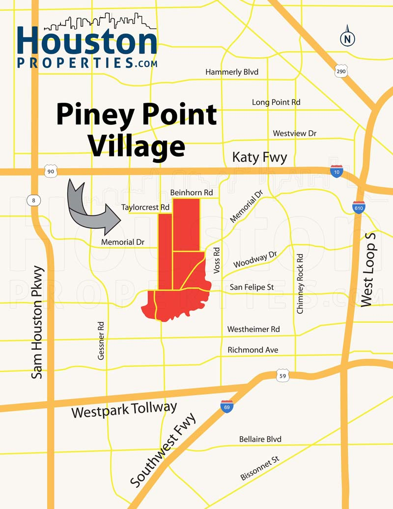 Piney Point Village TX map