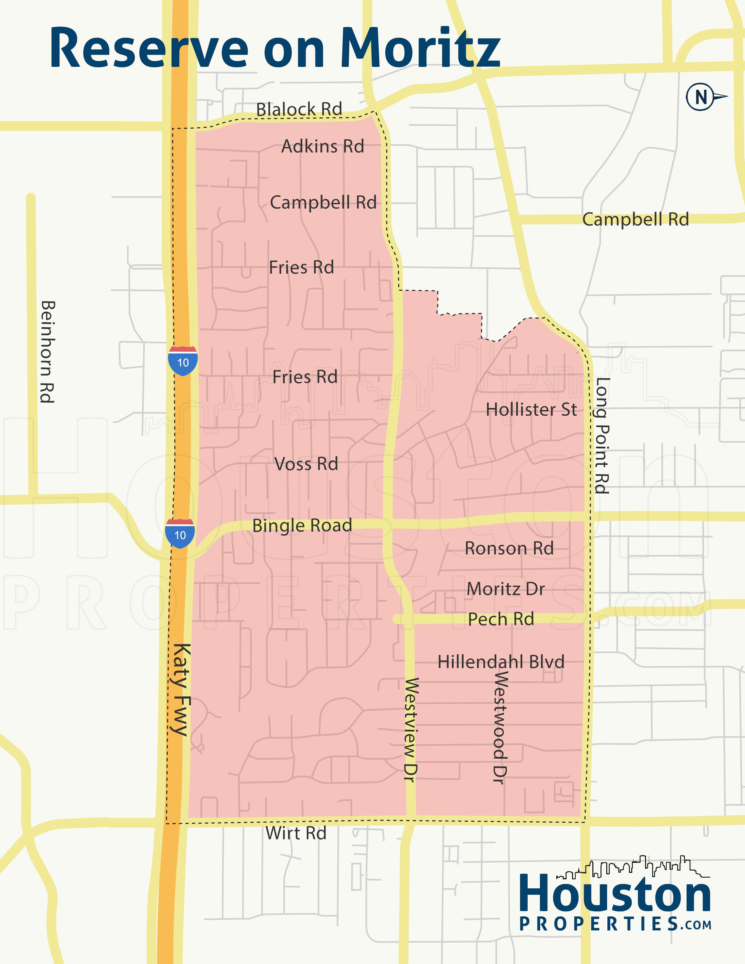 Reserve on Moritz neighborhood map
