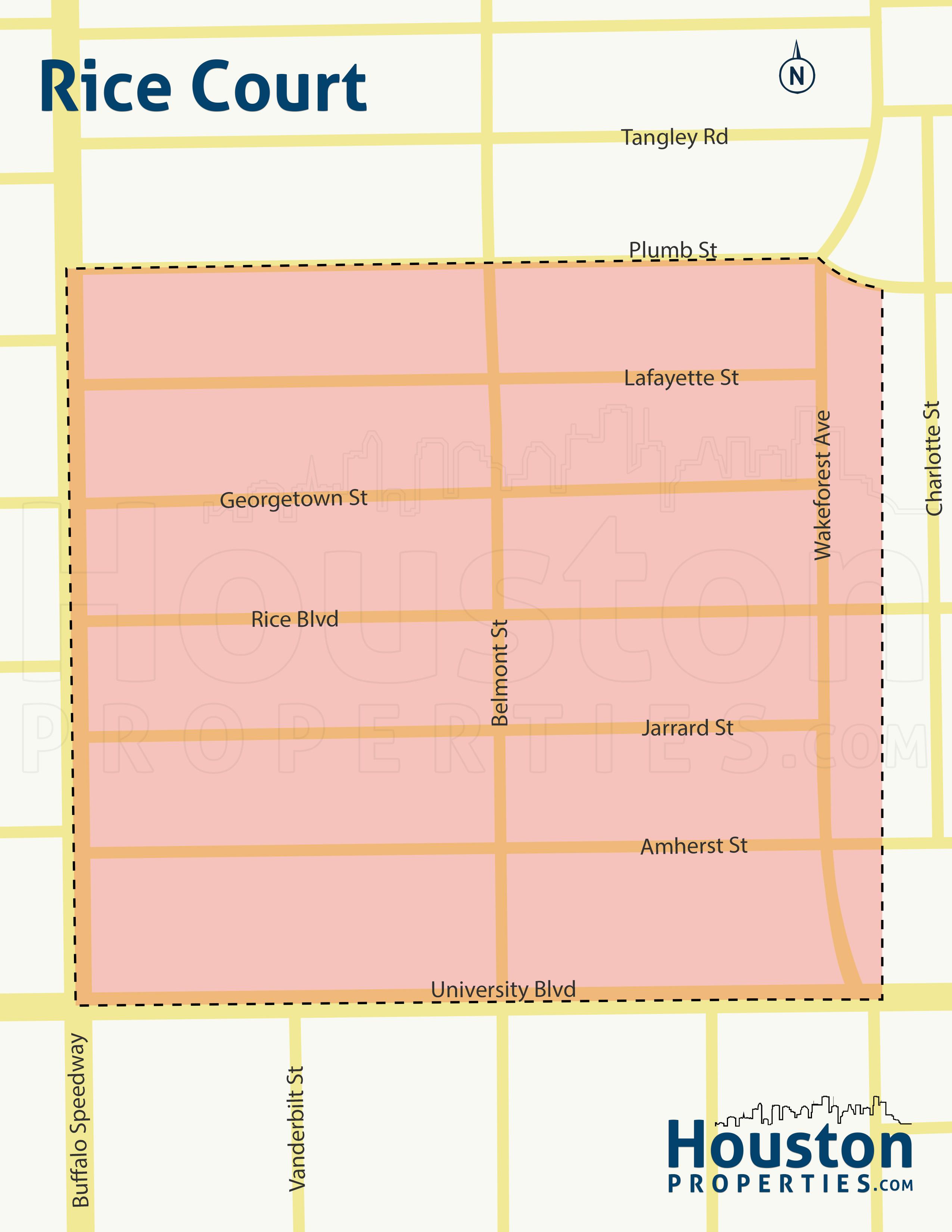 Rice Court Houston map