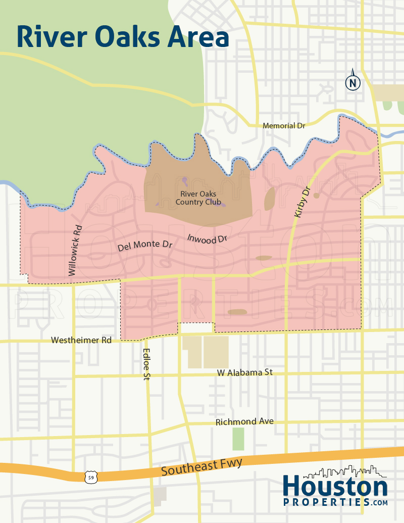map of river oaks homes in houston