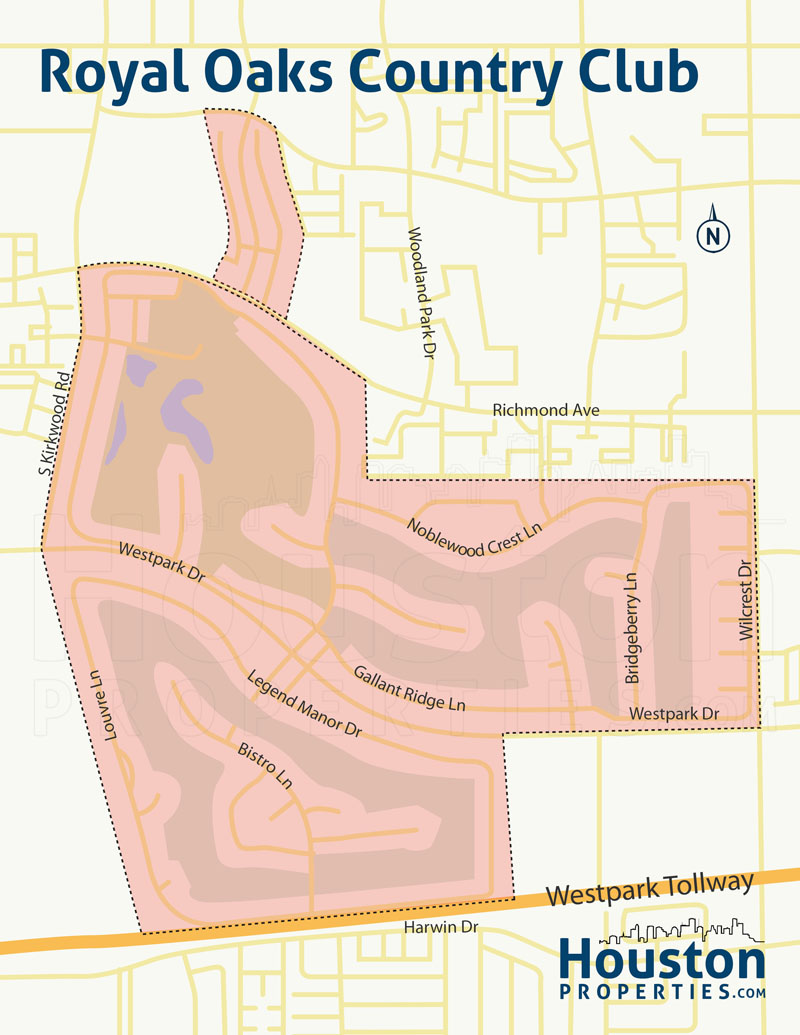 Royal Oaks Houston Neighborhood Map